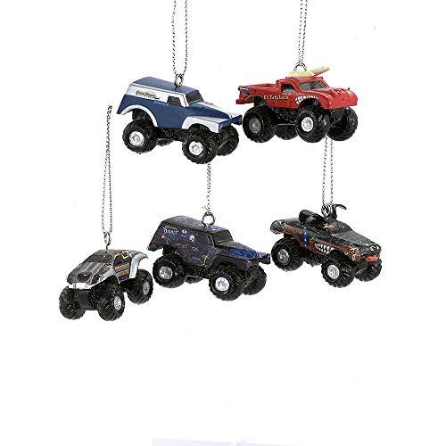 Monster Jam Kurt Adler 3D Ornament Set, Mini, 5-Pack 5 Pack Mini Ornaments