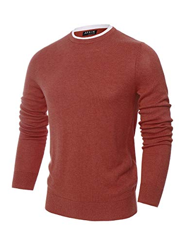 (AFAIK Men's Crew Neck Pullover Cotton Knitted Long Sleeve Casual Sweater (Small, 1032-Coral Melange))