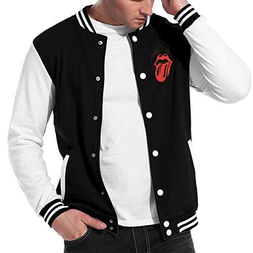 ASDONES Mens Baseball Uniform Jacket Sport Coat Rolling Paint It Black-Stones Cotton Sweater -