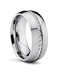 Metal Masters Co.® 8MM Dome Titanium Men's Ring Band with Braided Silver Inlay, Comfort Fit, High Polish