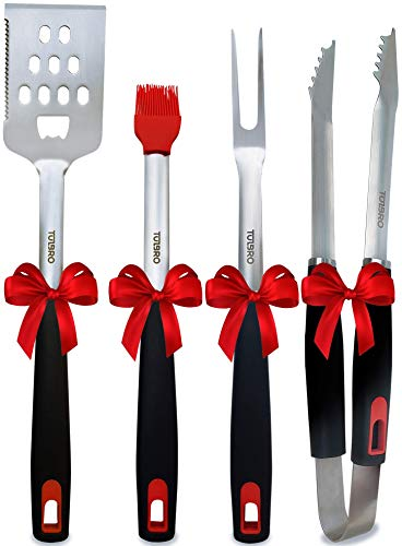 BBQ Grill Tools Set - Heavy Duty Stainless Steel Grill Accessories - Spatula, Fork, Tongs, Basting Brush - Premium BBQ Tools for Barbecue - Grilling Utensils with Gift Box
