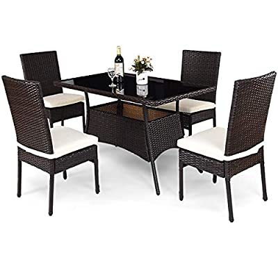 Tangkula Patio Furniture, 5 PCS All Weather Resistant Heavy Duty Wicker Dining Set with Stacking Chairs, Perfect for Balcony Patio Garden Poolside, 5 Piece Wicker Table and Chairs Set