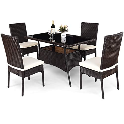 Tangkula Patio Furniture, 5 PCS All Weather Resistant Heavy Duty Wicker Dining Set with Stacking Chairs, Perfect for Balcony Patio Garden Poolside, 5 Piece Wicker Table and Chairs ()