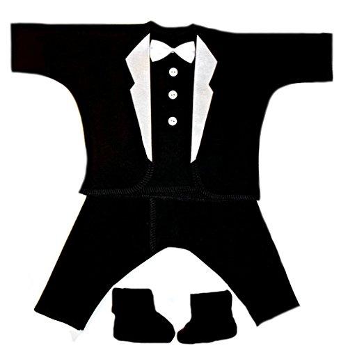 Jacqui's Baby Boys' Black with White Lapels Tuxedo Suit Newborn