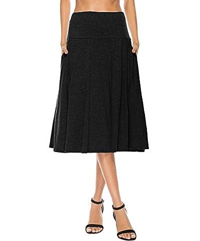 YiLiQi Women's High Waist Knitted Pleated Pocket Midi Skirt Black-M (Midi Skirt Black)