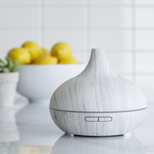 LEMON 300 ml Cool Mist Air Humidifier Ultrasonic Aroma Essential Oil Diffuser for Office, Home, Bedroom, Living Room, Study, Yoga, Spa; White Wood Grain with Multiple Lighting Options