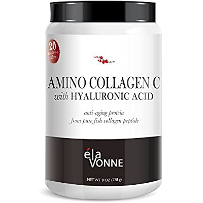 Amino Collagen C with Hyaluronic Acid powder mix (30 Day Supply 228g) — Pure Collagen Powder Flavorless Drink Mix from Fish Anti-Aging Protein to Improve Skin and Nails with GUARANTEED RESULTS.