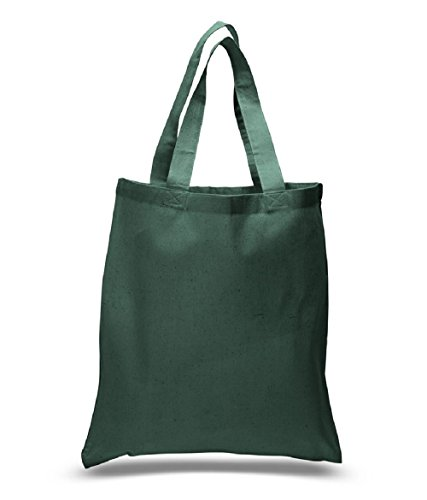 Durable 100% Cotton Tote Bag Reusable Shopping Swag Art Craft Blank Tote Bag (Forest Green)