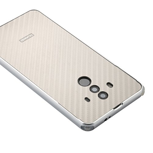 Mate 10 Pro Case,DAMONDY Luxury Carbon Fiber Design Ultra thin Imitation Metal Brushed Premium Aluminum Shockproof Protective Bumper Hard Back Case Cover for Huawei Mate 10 Pro-Silver by DAMONDY (Image #1)