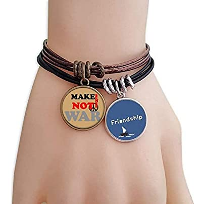 YMNW Make Sense Not War Love Peace World Friendship Bracelet Leather Rope Wristband Couple Set Estimated Price -