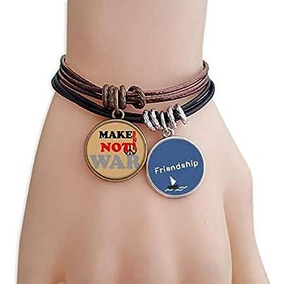 YMNW Make Sense Not War Love Peace World Friendship Bracelet Leather Rope Wristband Couple Set Estimated Price -