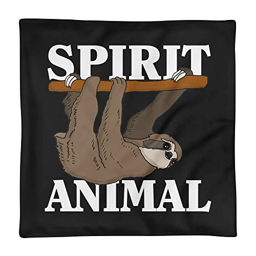 (Hand Wooden Customizable Decorative Throw Pillow Covers Sloth Spirit Animal Funny Cases for Sofa Bedroom Car Square Case Only 18 x 18 inch, 45 x 45 cm)