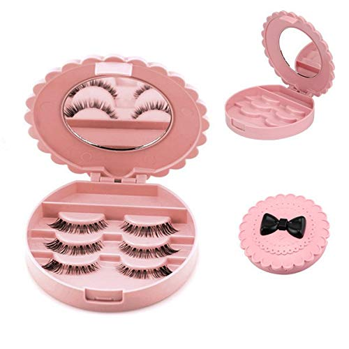 Elevin(TM)  Acrylic Cute Bow False Eyelash Storage Box Makeup Cosmetic Mirror Case -