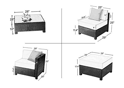 ANA Store Handicraft Casual Party Talking Daybed Set of 9 Pcs Park Pool Dark Black Wicker Rattan Gray Cushion 2 Corners 4 Middles 2 Stools Square Coffee Table Inner-Outside Furniture by ANA Store (Image #1)