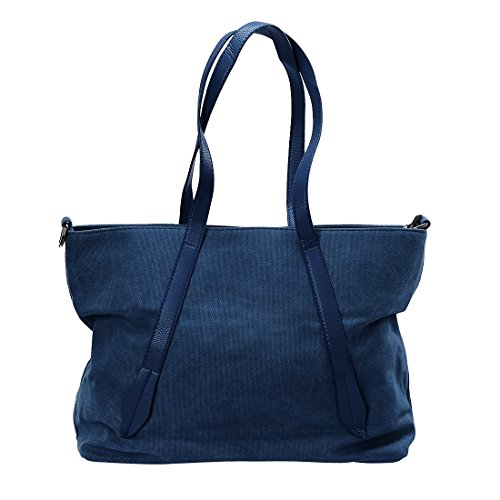 BMC Womens Cobalt Blue Canvas Material Crossbody Strap Large Double Top Handle Fashion Tote Handbag Double Handle Tote Bag