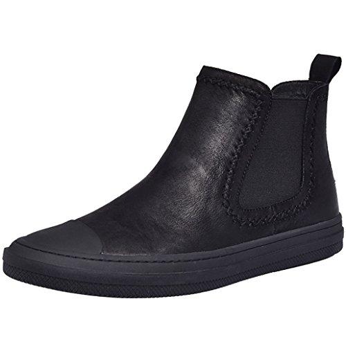 Haut-Top Chaussures Hommes Bottes Courtes Tendance Retro En Cuir Plus Velours Chaud Chaussures En Cuir Hommes Haut-Top Hommes Chaussures,Black,41