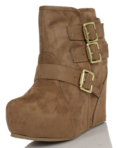Platform Suede Booties - Soda Women's Besso Faux Suede Triple Buckle Platform Wedge Ankle Bootie Boot, Taupe, 8 M US