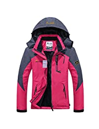 Alomoc Winter Hiking Jacket Waterproof Softshell Snowboard Coats with Hood