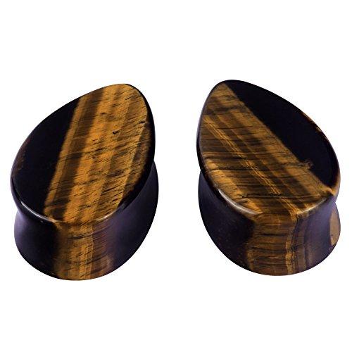 "2pcs Teardrop Stone Ear Gauges Flesh Tunnels Plugs Stretchers Expander 2g-5/8"" (tiger eye's stone 0g(8mm))"