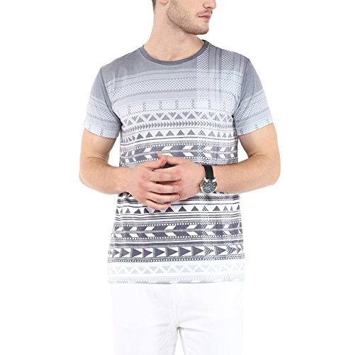 Aventura Outfitters Men's Crew Neck Printed T-Shirt (Grey & White)