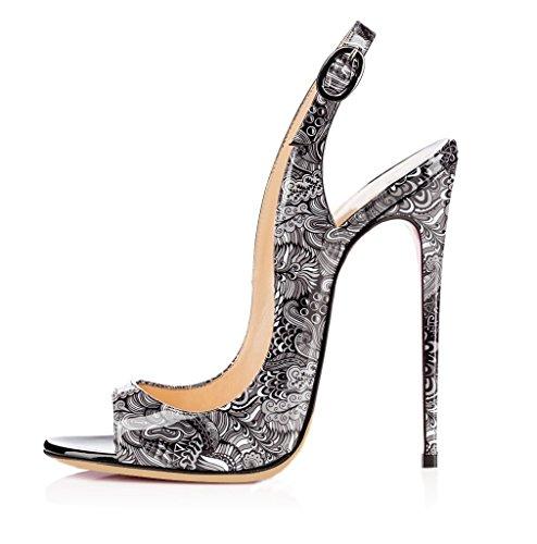 EDEFS Femmes Artisan 2817 Fashion Sandales Ouverts Décolletés Haut Bout Ouverts Chaussures à Talon Haut de 120mm Noir Bloom-gris 426dddc - jessicalock.space