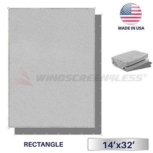 Windscreen4less Straight Edge Sun Shade Sail,Rectangle Outdoor Shade Cloth Pergola Cover UV Block Fabric 180GSM - Custom Size Grey 14' X 32'