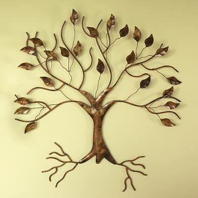 Ancient Graffiti Flamed Copper Finish Wall Mount Tree