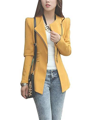 Donna Coat Slim Outwear Zip Moda Elegante Autunno Giacche Giorno Stile Eleganza Maniche Gelb Blazer Fit Lunghe Camicia Primaverile Semplice Parigine Giubbino Casual Glamorous fq8dxHw