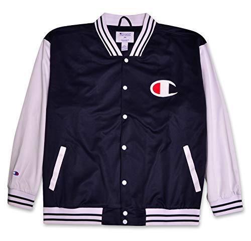 Champion Mens Big Tall Script Logo Varsity Track Jacket Navy White XLT ()