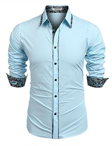 Poplin 3 Button Mens Suit - HOTOUCH Men's Standard-Fit Long-Sleeve Solid Poplin Shirt,Light Blue£¬XX-Large