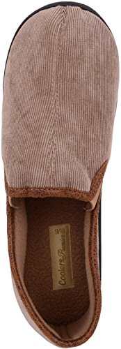 ABSOLUTE FOOTWEAR Mens Slip On Slippers/Mules/Indoor Shoes with Soft Corded Upper Tan rALrxYMLIt