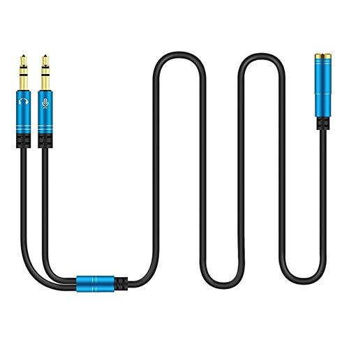 Mrotrida Divisor de audio para auriculares con cable de extensión para computadora 3.5mm hembra a 2 macho 3.5mm Mic...