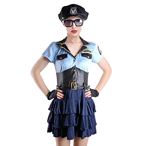 Ladies Police Officer Costume Navy Blue Cops Uniform Halloween Fancy Dress 4 Piece Outfit Set (M) ()