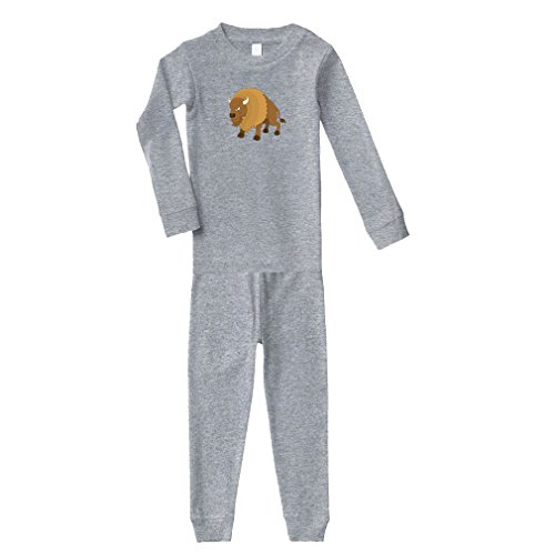 Bison Angry Animals Cotton Long Sleeve Crewneck Unisex Infant Sleepwear Pajama 2 Pcs Set Top and Pant - Oxford Gray, 18 Months