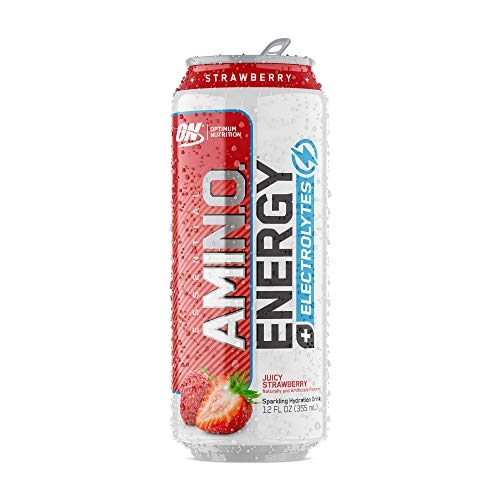OPTIMUM NUTRITION Essential Amino Energy Plus Electrolytes Sparkling Hydration Drink, Juicy Strawberry, 12 Count
