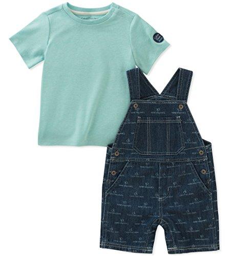 Calvin Klein Baby Boys 2 Pieces Shortall, Washed Blue, 6-9 - Shortalls Baby Boy