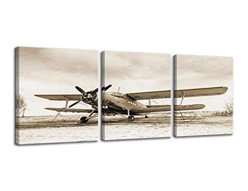 Urttiiyy Vintage Airplane Aircraft Canvas Prints Wall Art Old Paper Airplane Pictures Canvas Artwork 3 Pieces Posters for Living Room Home Decor Stretched and Framed Ready to Hang