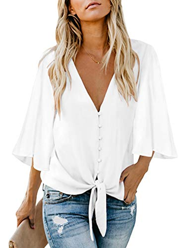Asvivid Womens Casual Button Down V-Neck White Blouses Chiffon Blouses T-Shirt Flare Bell Sleeve Self Tie Flowy Tops M - Pattern Chiffon Blouse