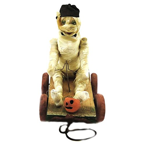 Halloween MUMMY ON WAGON Wood/Resin Pumpkin Bethany Lowe Designs VL0348