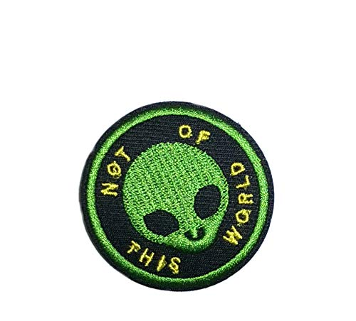 Series Patch World Emblem (Not of This World Green Alien Embroidered Patch Iron-on or Sew-on Bigfoot Yeti Sasquatch Dogman Monsters Creatures Adventure Cryptid X-Files Series Emblem Badge Appliques Application Fabric Patches)