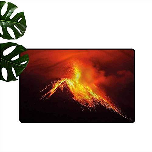 (DONEECKL Modern Door mat Volcano Tungurahua Explosion Night Non-Slip Door mat pad Machine can be Washed W31 xL47)