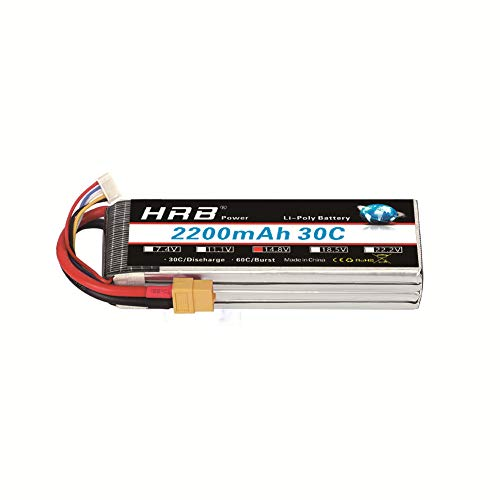 HRB 4S 14.8V 2200Mah 30C RC LiPo Battery Pack with XT60 Plug for RC Airplane Helicopter Quadcopter Vehicle Boat