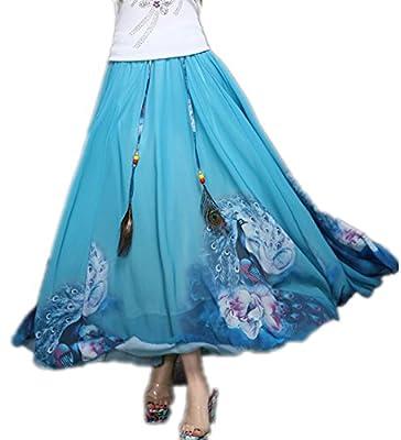 Kafeimali Women's Peacock Pattered Chiffon Floral Maxi Skirt Bohemian Dress