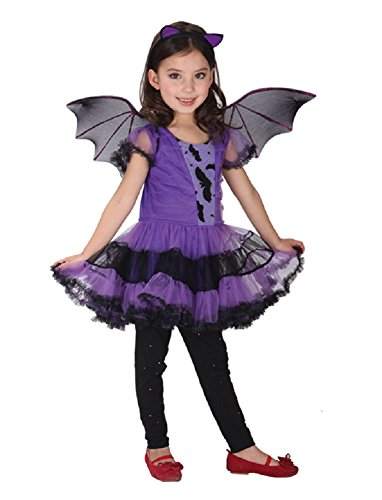 Bat Dress Up Costume (Kalanman Kids Girls Deluxe Halloween Dress Up Theme Party Cosplay Costume Party Fancy Dress (XL(Fit for 10-12 Age), Purple Bat 117))