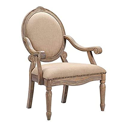 . Madison Park FPF18 0154 Brentwood Accent Chairs Birch Hardwood  Hand Carved  Scroll Design Living Armchair Modern Classic Style Family Room Sofa