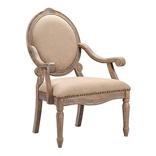 Madison Park FPF18-0154 Brentwood Accent Chairs-Birch Hardwood, Hand Carved Scroll Design Living Armchair Modern Classic Style Family Room Sofa Furniture Bedroom Lounge, Medium, Beige - French Country Traditional Chair
