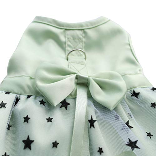 LVYING Dog Harness Dress Summer Princess Bow Decoration Tulle Chiffon Pet Sequin Puppy Skirt Clothes