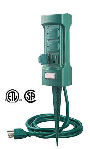 MaxWorks 80710 6-Outlet Double Sided Outdoor Power Stake with Covers-14 AWG x 3C-with Overload Protection-ETL Certified, 6 Ft. Green (Outlet Store Outdoor)