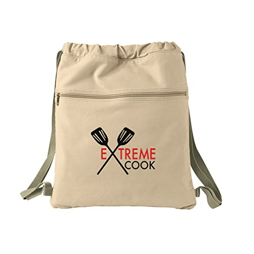 Extreme Cook Text Image Canvas Dyed Sack Backpack Bag by Style in Print