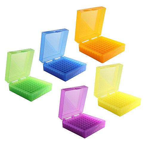 Heathrow Scientific HS120033 100 Well Microtube Storage Box, Cryogenic Box, Tube Storage, 1.5mL/2.0mL Tubes,Polypropylene, Assorted Colors, (5/pk)